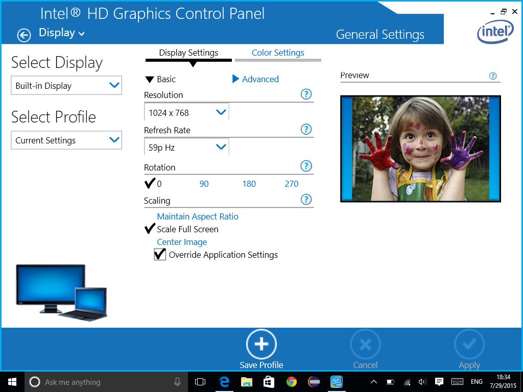 Windows 10 & Intel grafika (Black Bars)